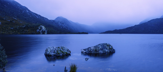 Cradle mountain in Tasmania on a cloudy day.