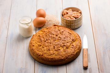 tuna cake with eggs and yogurt