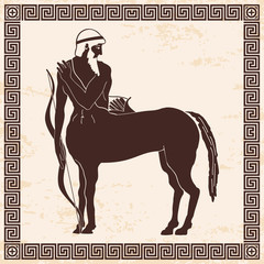 Mythical creature Centaur with a bow and arrows. Vector vintage Greek national style. Brown pattern on a beige background with the aging effect.