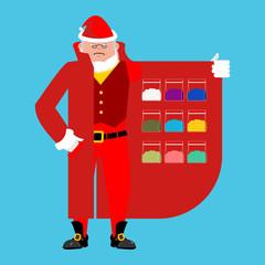 Santa Claus sells drugs. Cocaine and marijuana. Cloak-seller isolated. Dealer in hat and coat . Bootlegger. Seller prohibited goods of black marke. Legitimate trade. Vector illustration