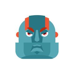 Robot angry emoji. Cyborg evil emotions avatar. Robotic man aggressive. Vector illustration