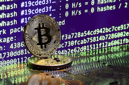 The Digital Process Of Cryptocurrency Mining By Using GPUs Bitcoins And Video Card On