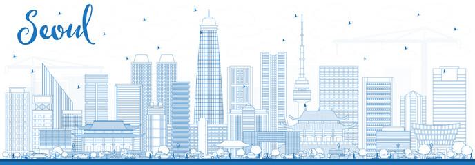 Outline Seoul Korea Skyline with Blue Buildings.