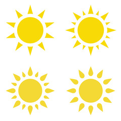 Icon the sun. Set. Vector flat illustration.