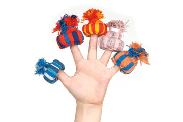 Toy crocheted hats, put on fingers