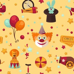 Circus themed bright seamless pattern.