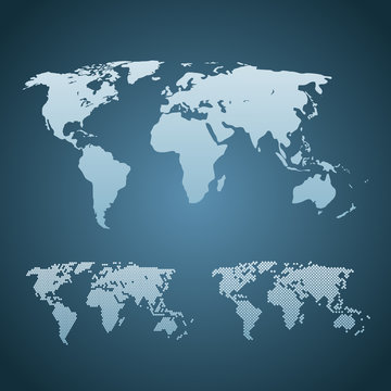 Three stylized world maps are isolated. World map world template, web design, cover, annual reports, infographics. Flat earth graph world map.