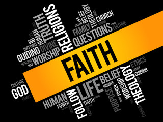 Faith word cloud collage , social concept background
