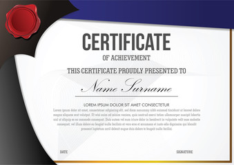 Certificate template with gold border