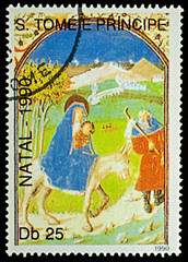 "Painting ""Flight into Egypt"" on postage stamp"
