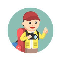 Hiker holding camera illustration design