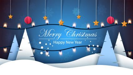 Merry christmas. Happy new year, Winter landscape. Fir, star, snow, light, bulb