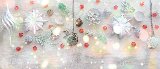 Banner Decorative Christmas composition on wooden background light.