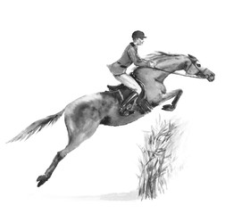 Horseback rider man and horse jumping in forest on white. Black and white monochrome watercolor or ink hand drawing illustration. Horseman on stallion. England equestrian sport fox hunting style