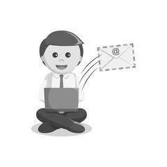 Black and white businessman sending email