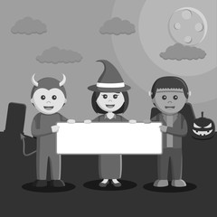 Black and white devil couple with witch and frankenstein