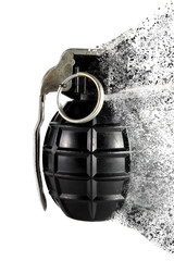 Hand grenade with dispersion effect on a white background