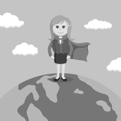 Black and white super businesswomen standing on globe
