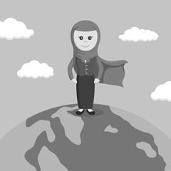 Black and white super arab businesswomen stand on globe