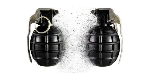 Two hand grenades with dispersion efects