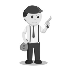 Businessman holding gun and money black and white style