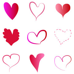 Isolated set of hand drawn red hearts  - Eps10 vector graphics and illustration