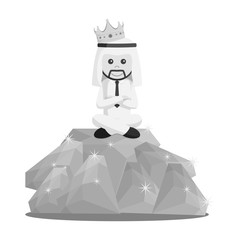King arabian businessman sit on diamonds black and white style