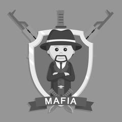 Mafia boss in emblem black and white style