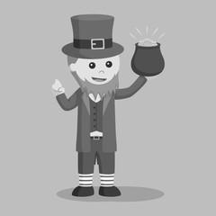 Leprechaun holding pot of gold black and white style
