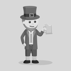 Leprechaun holding wine vector illustration design black and white style