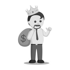King fat man businessman black and white style