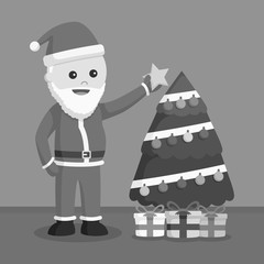 Santa claus puting star on tree black and white style