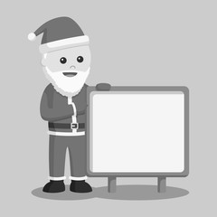 Santa claus with empty board sign black and white style