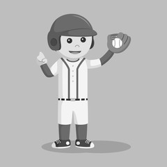 Baseball player with glove black and white style