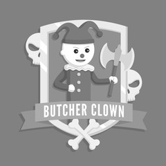 Butcher clown logo vector illustration design black and white style