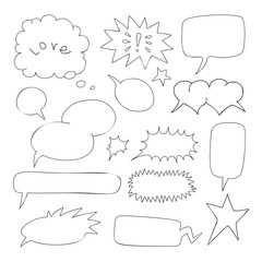 Set of comic speech bubbles. Hand-drawn, vector illustration.