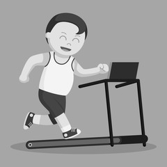 Healthy fat man run on a tread mill black and white style
