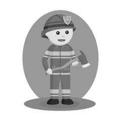 Firefighter wielding axe vector illustration design black and white style