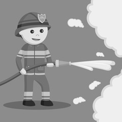 Firefighter use water hose black and white style