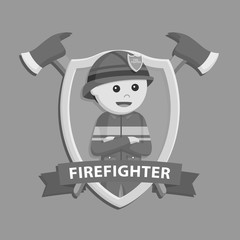 Firefighter in emblem vector illustration design black and white style