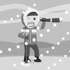 Polar explorer use telescope black and white style