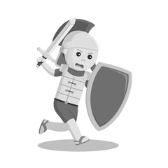 Gladiator with sword and shield black and white style