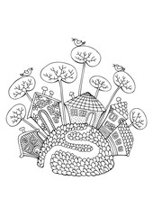 Cute village on hill. Hand drawn picture. Sketch for anti-stress adult coloring book in zen-tangle style. Vector illustration  for coloring page, isolated on white background.