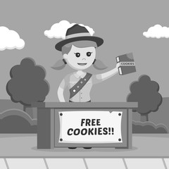 Girl scout sharing cookies for free black and white style
