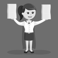 Super office girl finished lot of a task black and white style