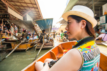 beautiful smiling woman going to Thailand travel