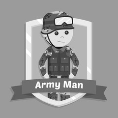 Army man in emblem black and white style