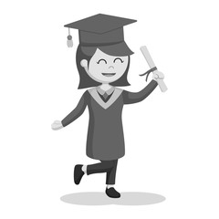 Graduate female student feel excited black and white style