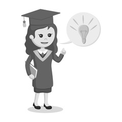 Graduate female student with idea callout black and white style