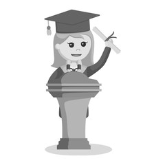 Graduate female student giving speech black and white style